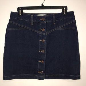 Denim 6-Button Skirt